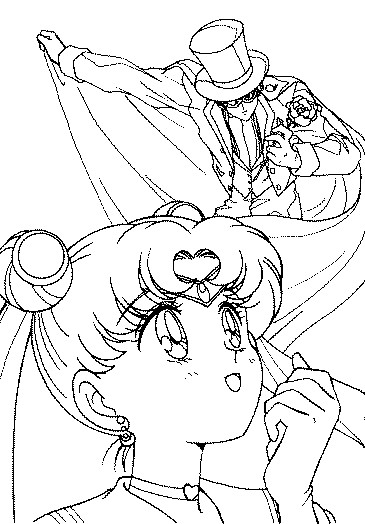 Sailor Moon and Tuxedo Mask Coloring Page by ...