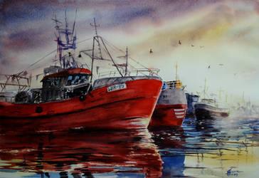 Boats - 38x56cm by sezarka