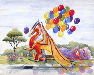 Balloon Dragon - Watercolor