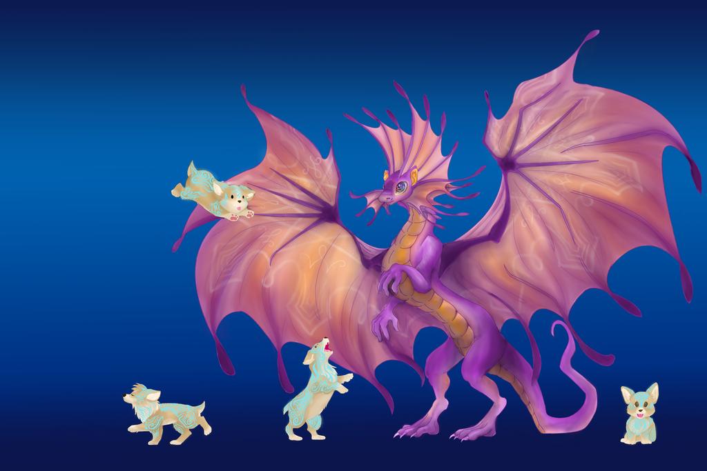 Fairy Dragon vs. Blink Dogs by SwirlyXenapus