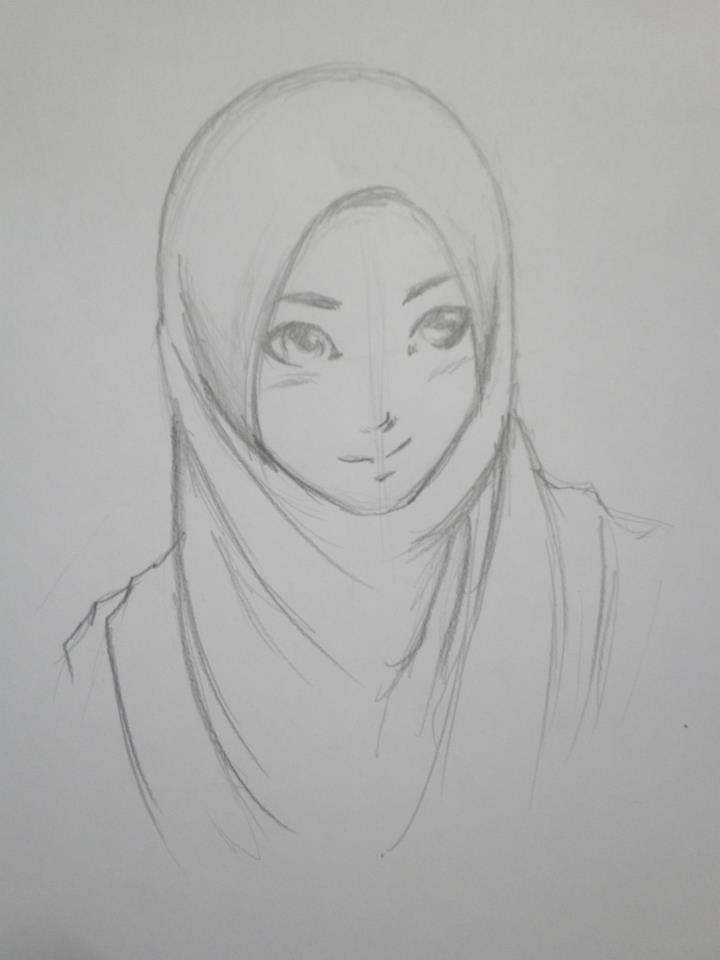 Anime muslimah pencil art