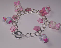 Pink hello kitty bracelet by PookieTookieJewelry