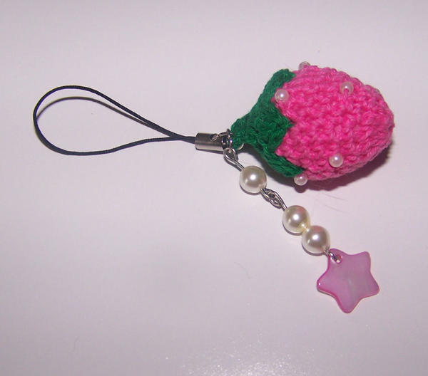 Crochet strawberry strap by PookieTookieJewelry