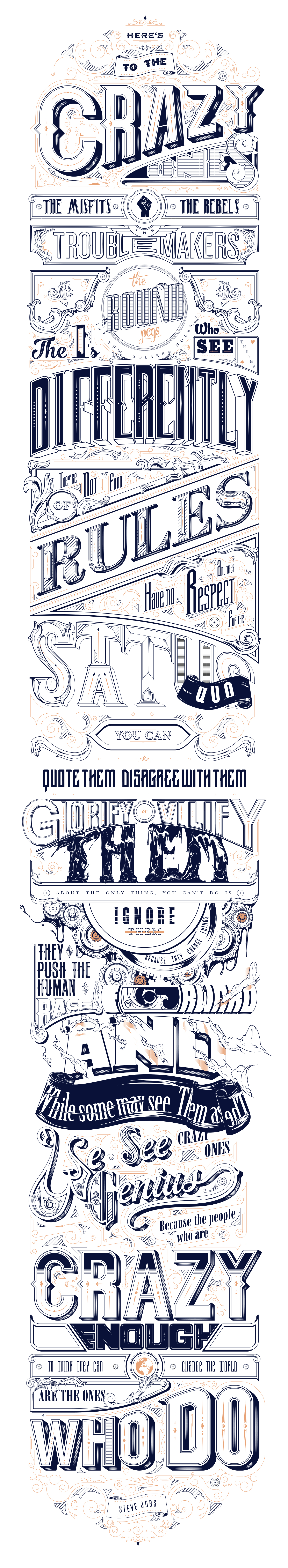 Steve Jobs Famous Quote Typography by Tropfich
