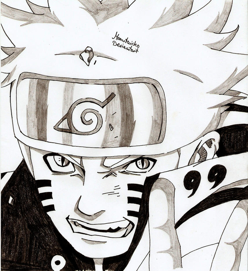 Portrait Naruto Kyubi Mode by DevilishMirajane