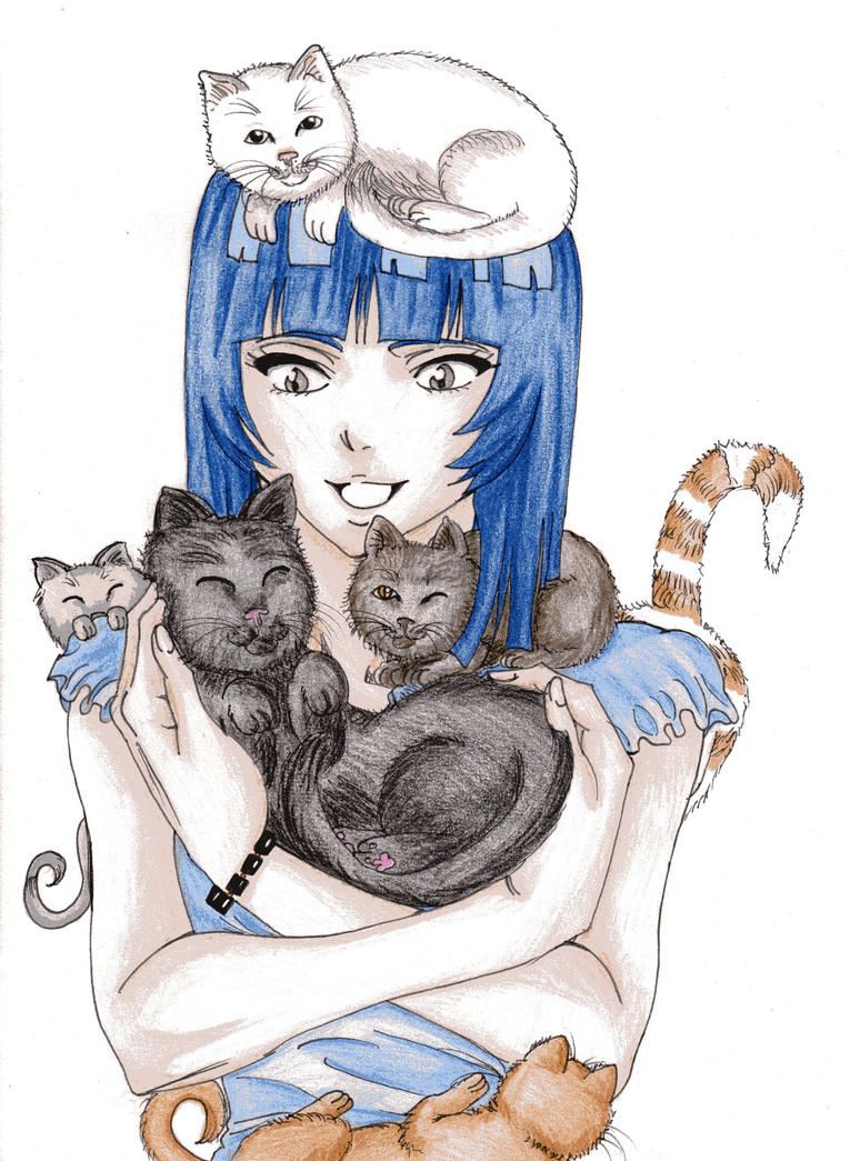 Soi Fon and her cats by DevilishMirajane