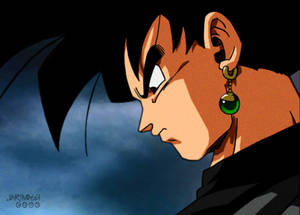 Finalmente Black aparece frente a Goku y Vegeta