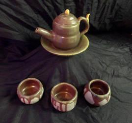 Burgundy Tea Set