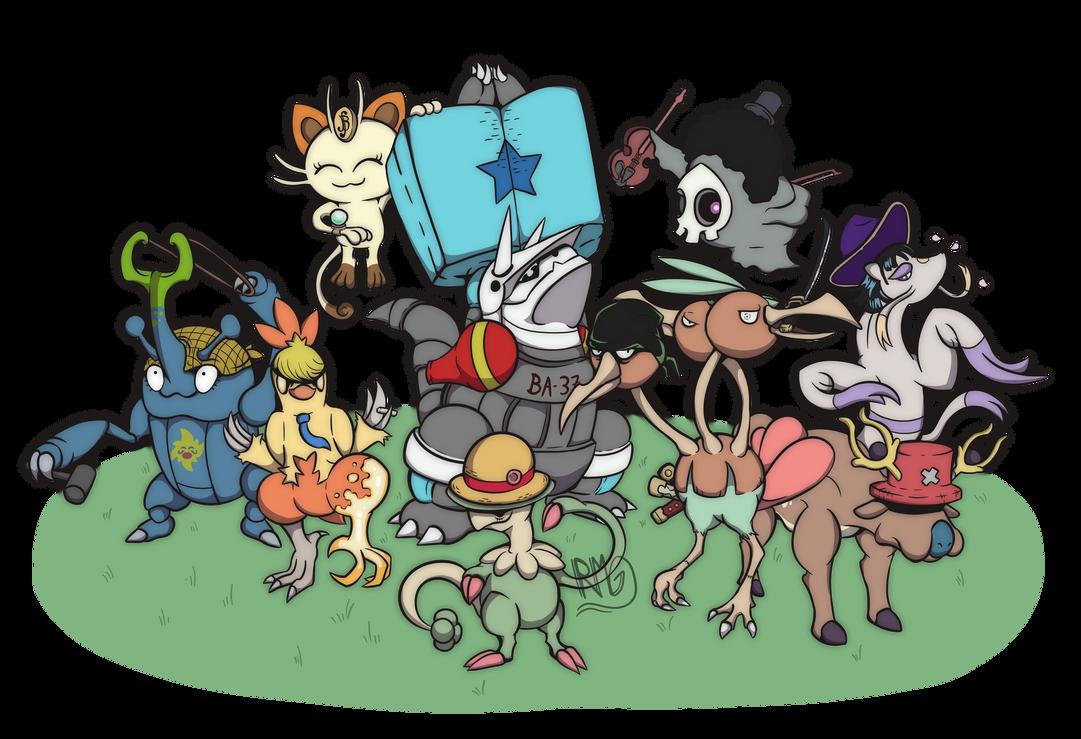 mugiwaras version pokemon one piece pokemon by rocketgamma on