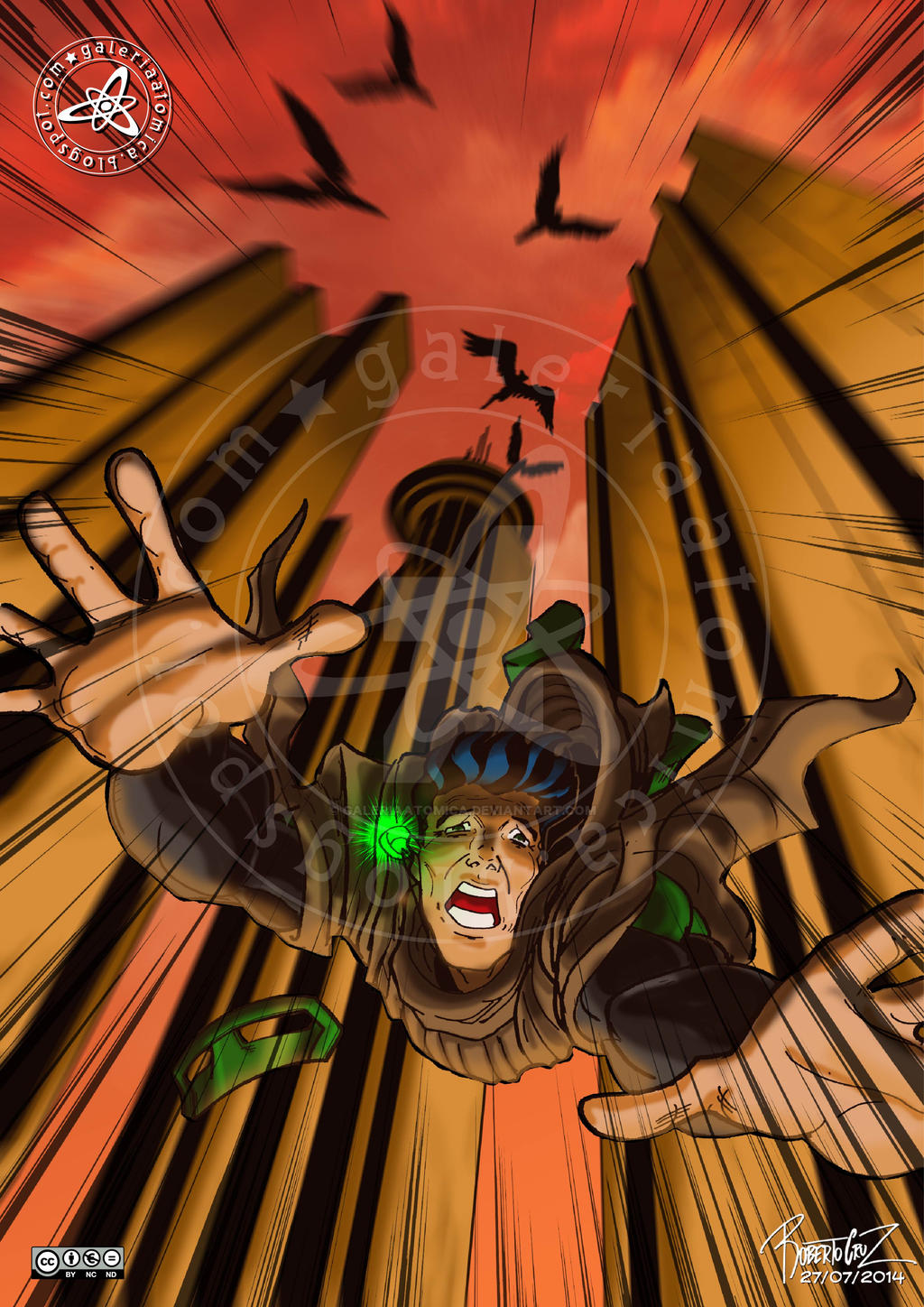Green Lantern: falling from the sky by galeriaatomica