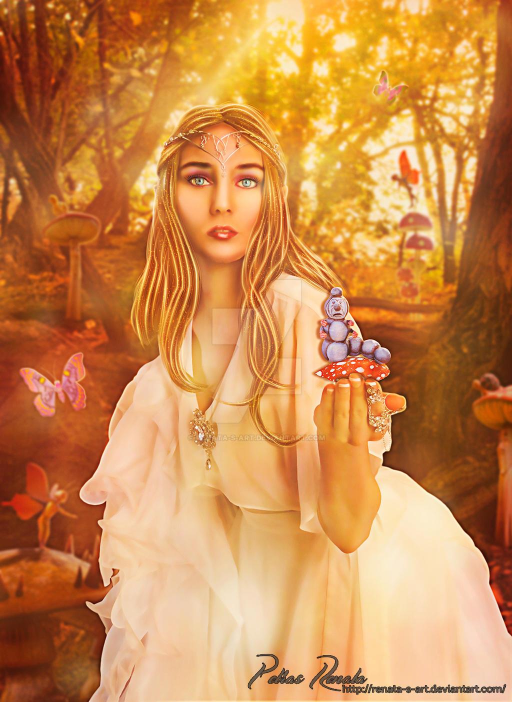 Picking Mushrooms by Renata-s-art