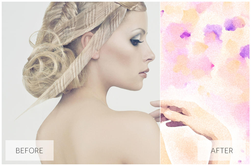 Lovely Watercolor Effect | Photoshop Actions by EcaJT
