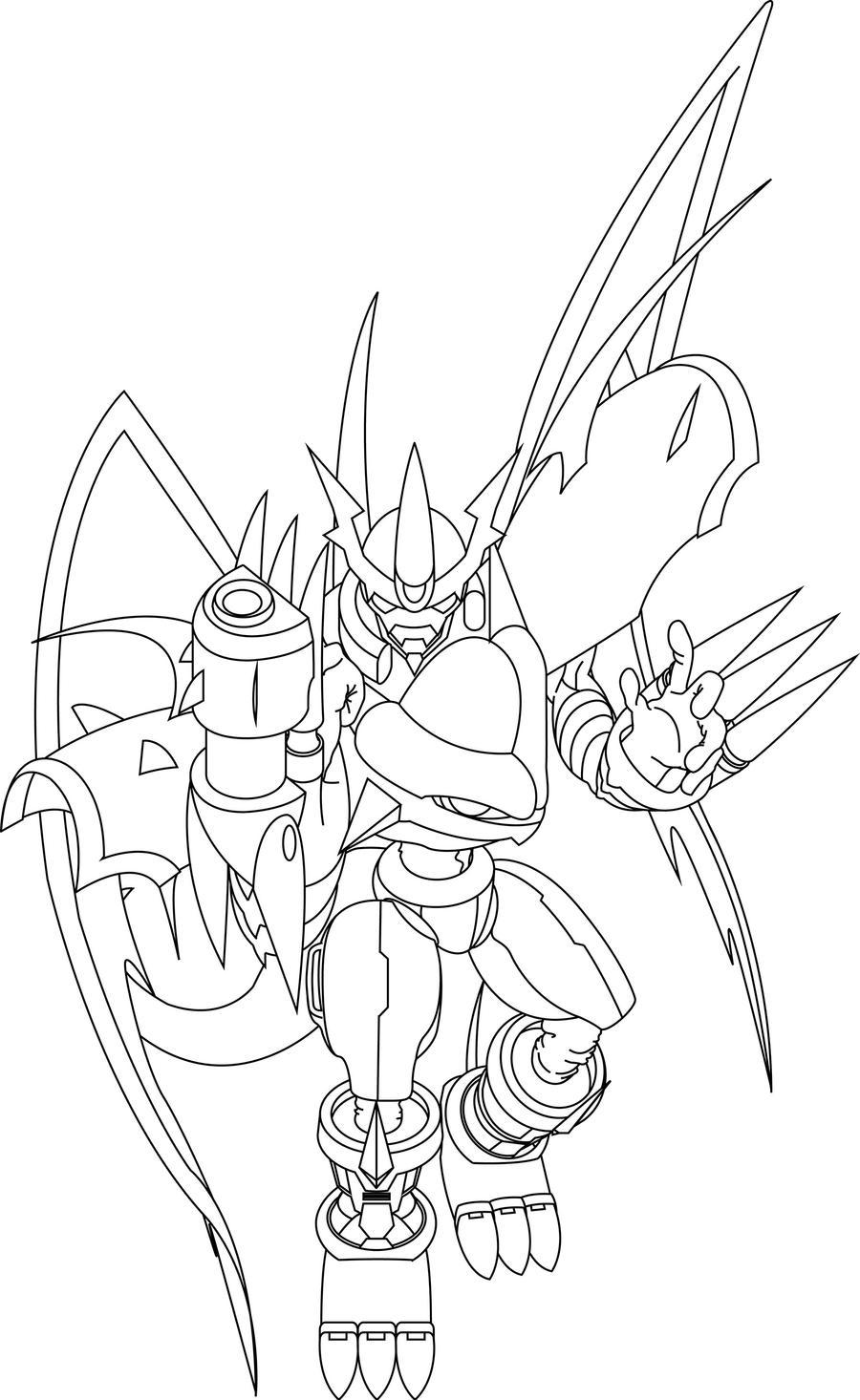 Line Art: Imperialdramon Fighter Mode by Mearns on DeviantArt