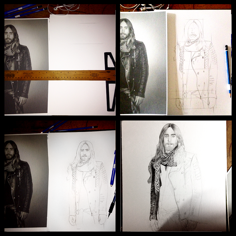 Jared Leto Portrait 2 Progression 1 by Taurina