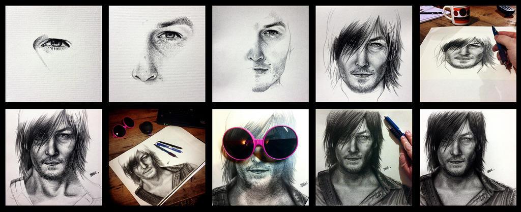 Daryl Dixon Art Progression by Taurina