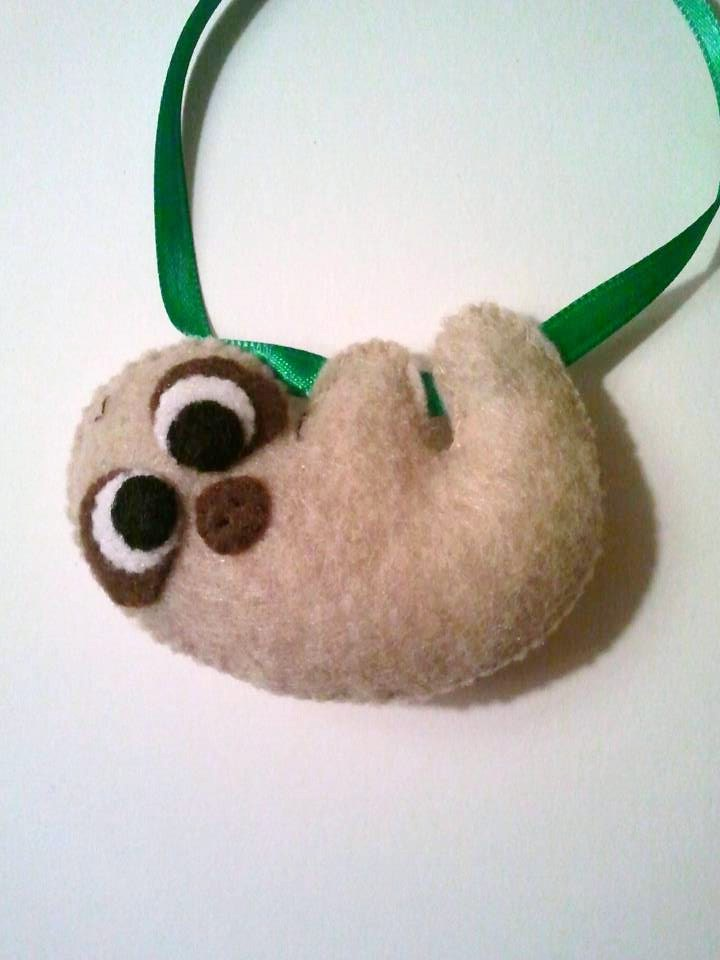 Sigmund the Baby Sloth Felt Ornament by msmegas