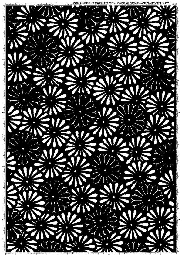 Screentone kimono flower 1