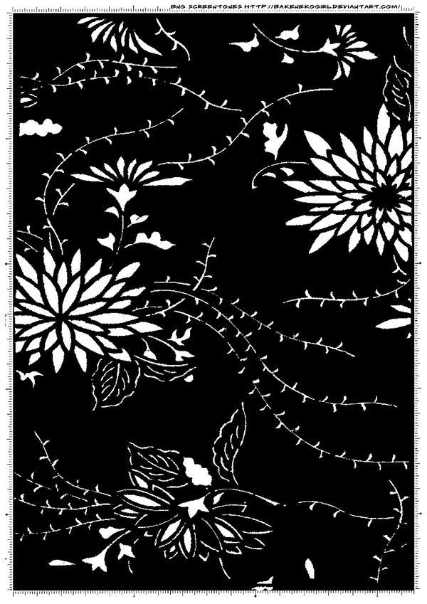Screentone kimono flower 2