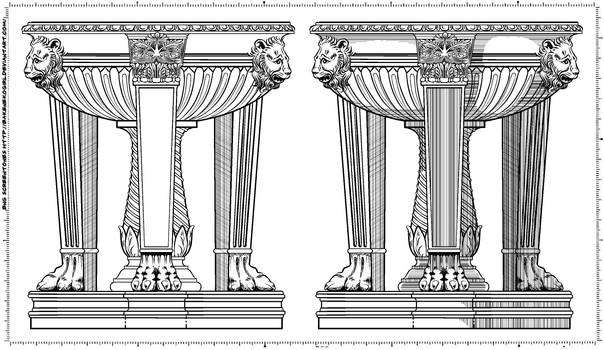 Screentone Roman Fountain