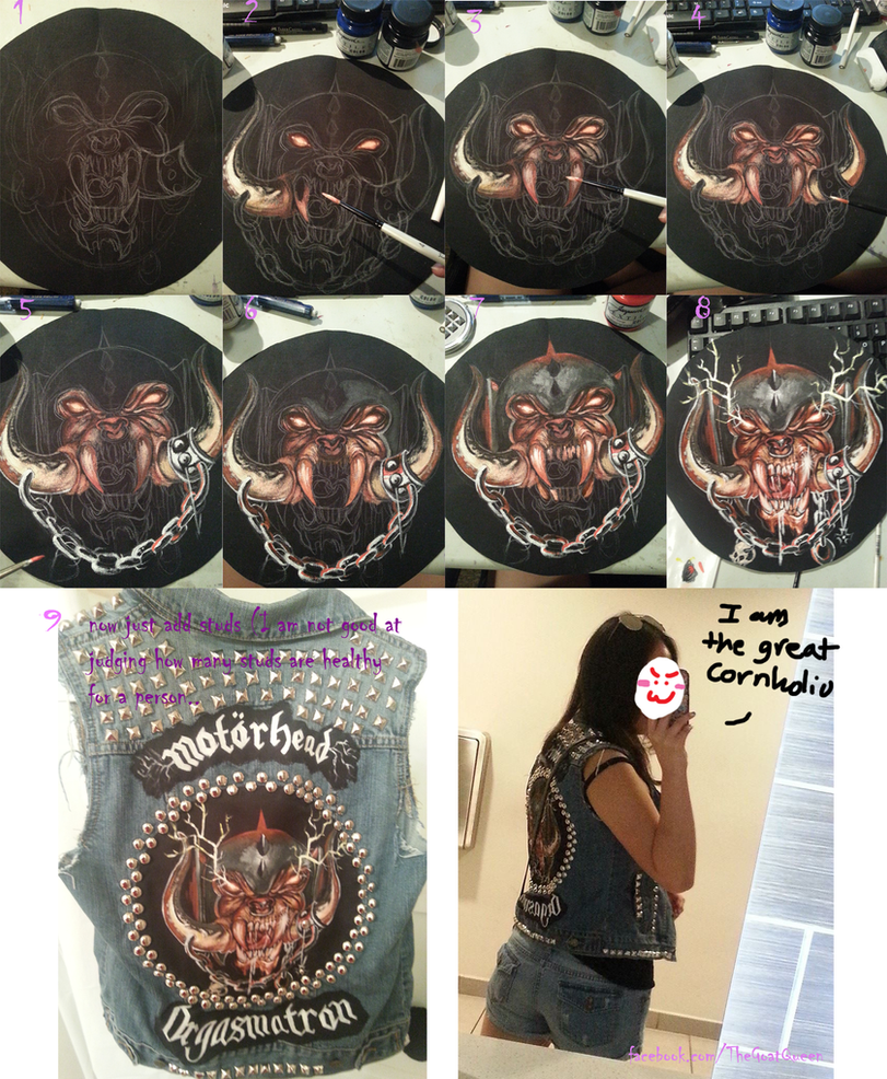 Painting step by step for back patch/battle jacket by GoatQueen
