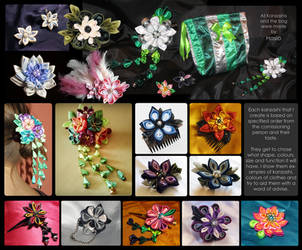 Kanzashi commissions by Hosio