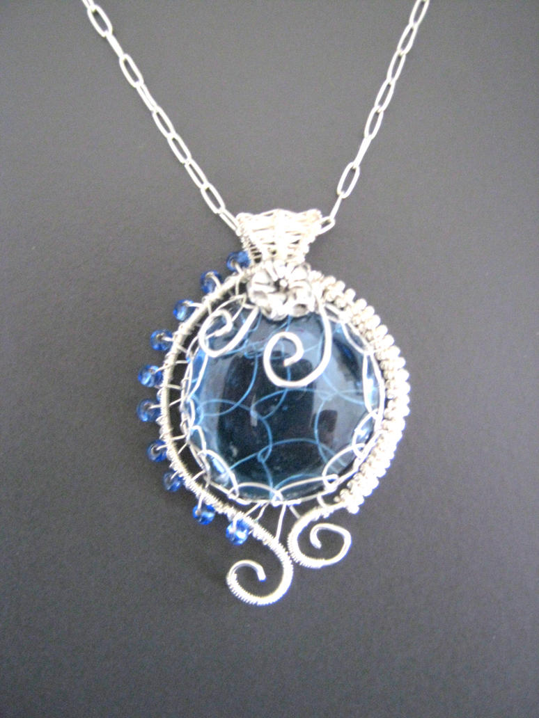 Wire Wrapped Pendant With Blue Glass Nugget By