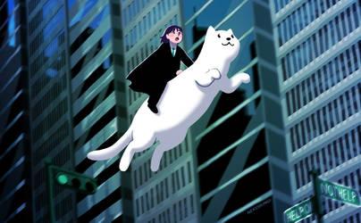 Commuting by cat by nekobungi