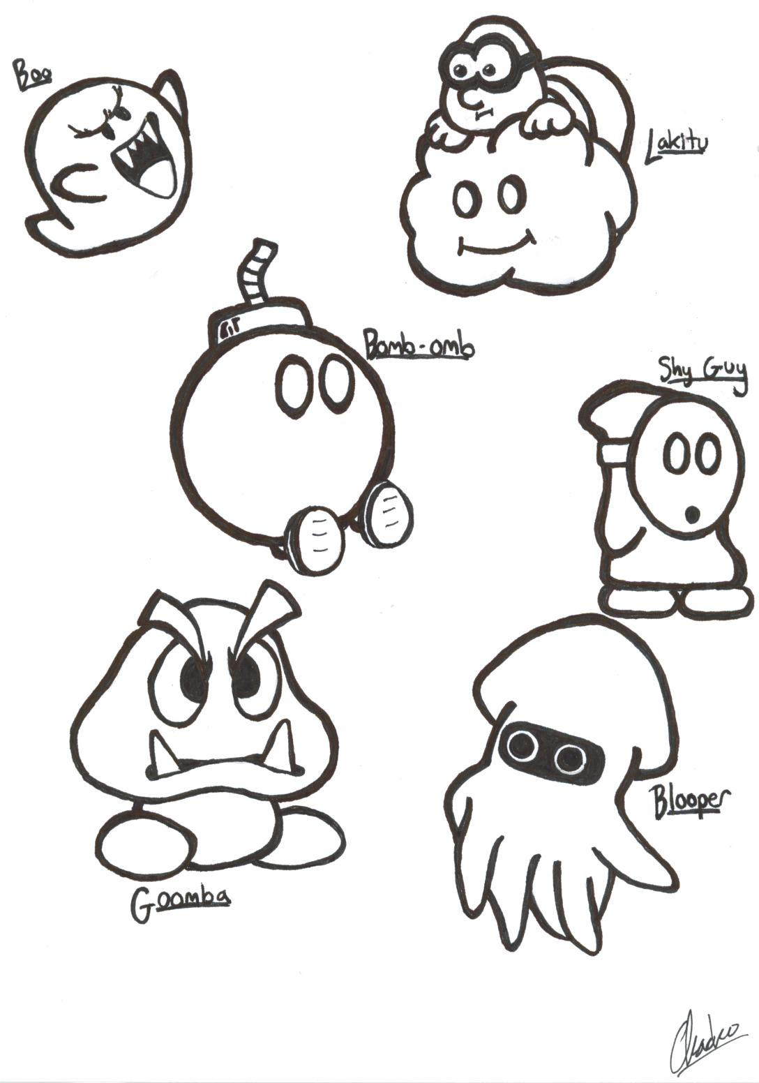 Super Mario Sketches, Part I by justchacko on DeviantArt Raccoon Drawing Easy