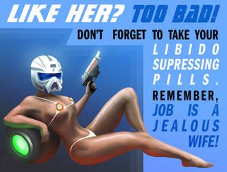 Sci-fi pin-up propaganda poster by JousCroe