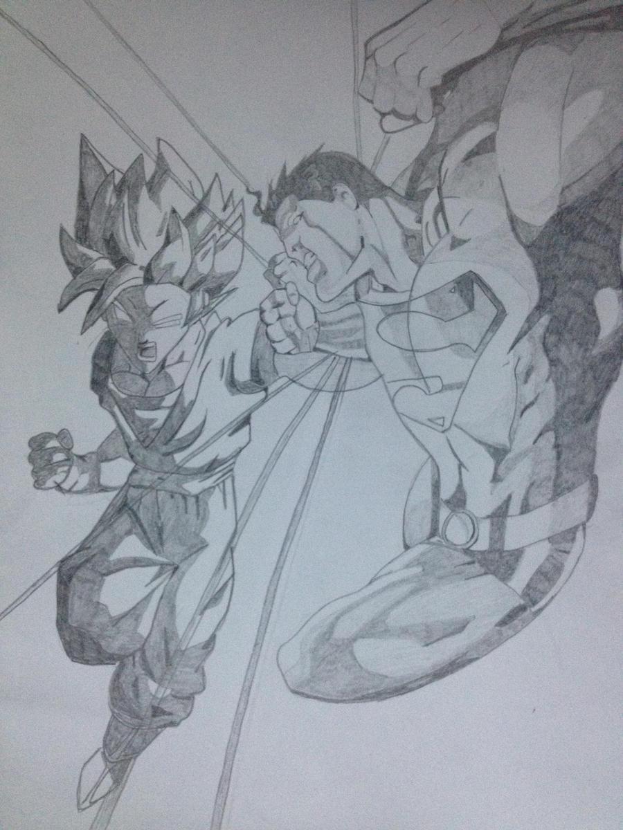 My Drawings (NEW) Goku VS Superman!!! by NomCookieNom on ...