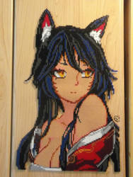 Ahri portrait Perler beads/ Pixel Art by Cimenord