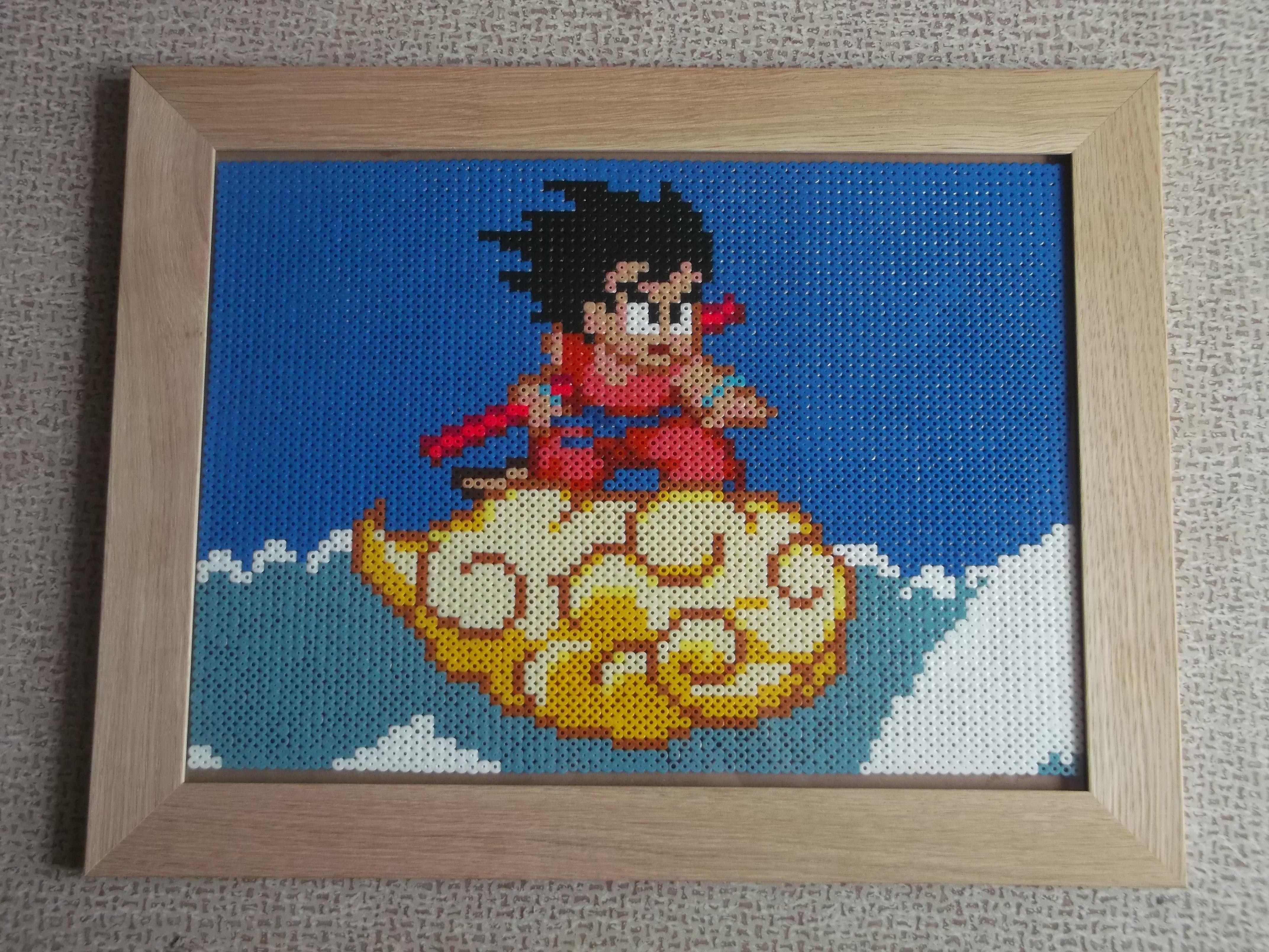 Framed Flying Nimbus / Dragon Ball Perler Beads by Cimenord