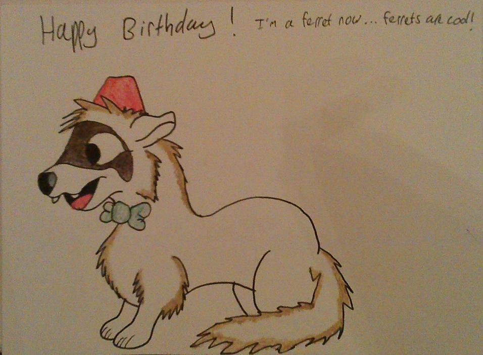 Ferret Birthday Card by IronBrony