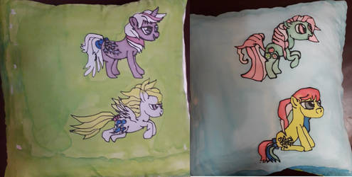 Double sided silk-painted pony cushion by IronBrony