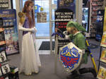 Link kneels before Princess Zelda
