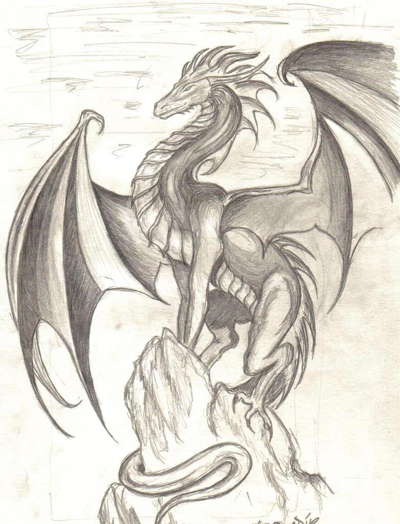 Dragon on a rock by zarrah on DeviantArt