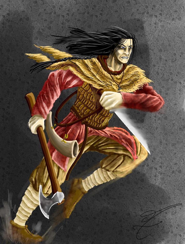 Asulf the bastard of vinland (in action) by jormungan13
