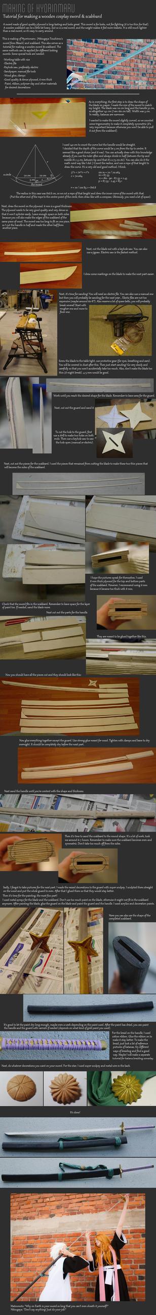 Tutorial: Wooden cosplay sword (Hyorinmaru) by Purplieh