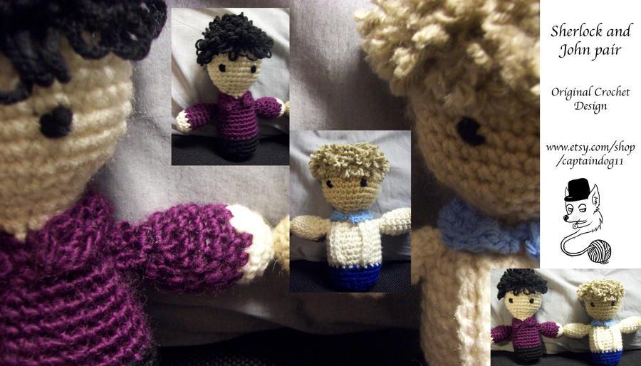 Sherlock and John pair amigurumi by oddsterinJpan