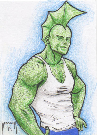 Savage Dragon Sketch Card by DieselNYC