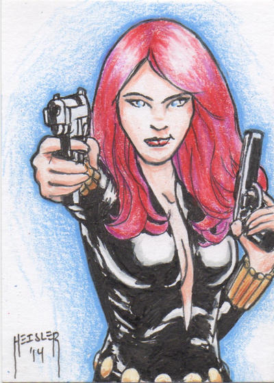 Black Widow Sketch Card by DieselNYC