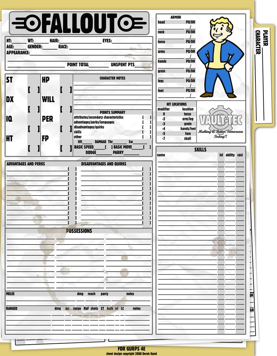 Italian Boy Name: GURPS Fallout Sheet By Tensen01 On DeviantArt