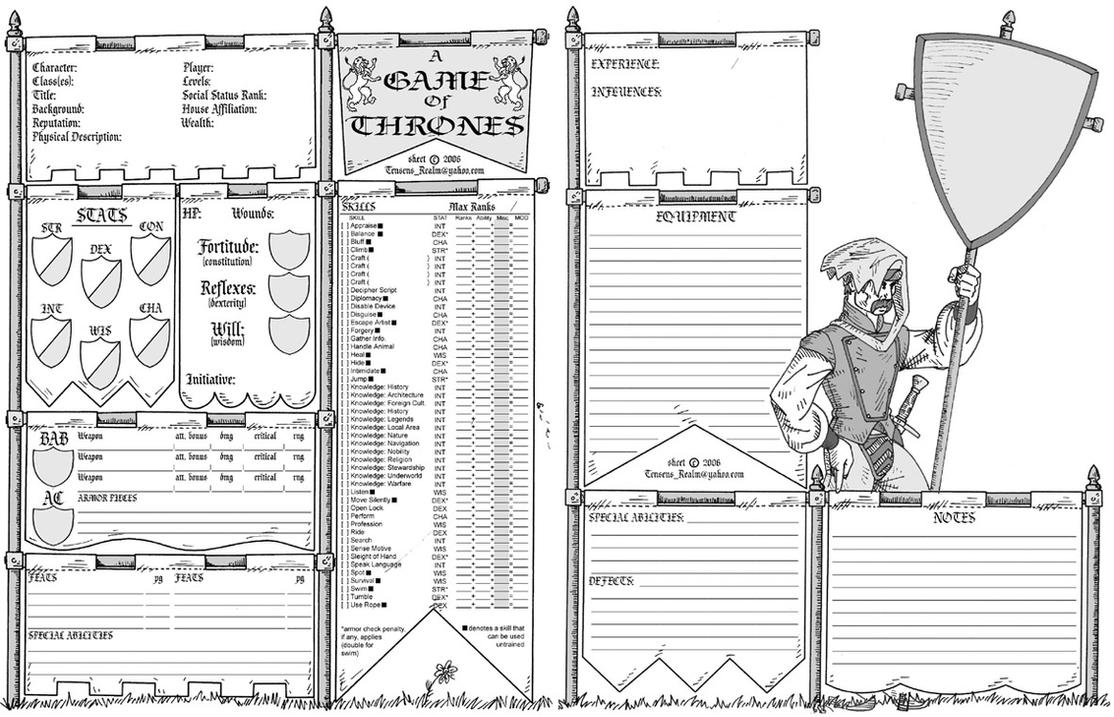 Game of Thrones RPG sheet by Tensen01