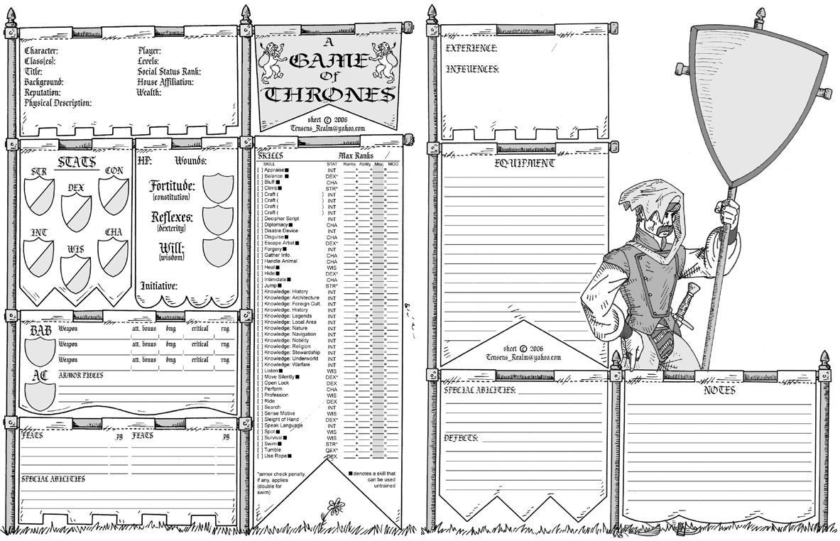 Game of Thrones RPG sheet by Tensen01