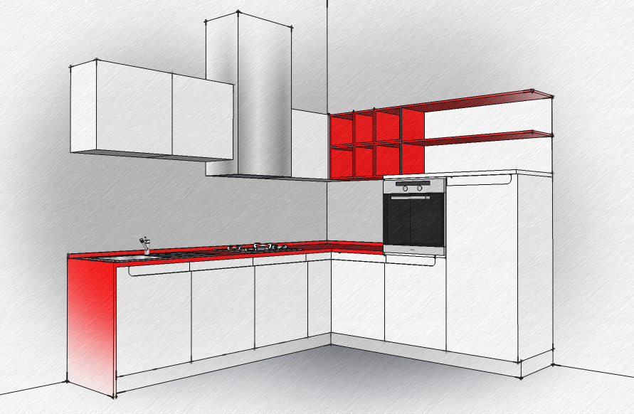 Sketchup kitchen technical white red by neonblack77 on for Kitchen designs sketchup