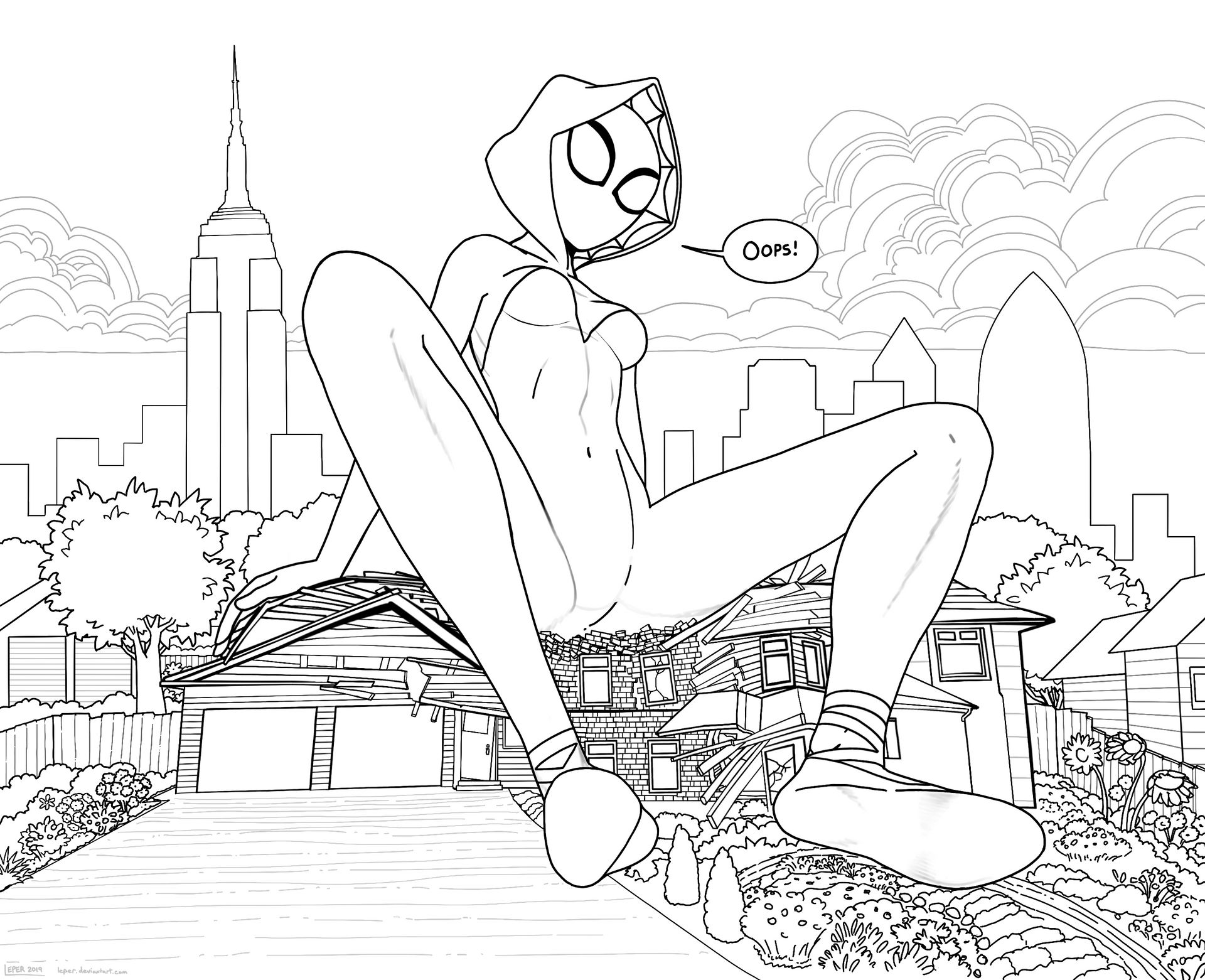 Spider Gwen sitting on a House (Giantess)