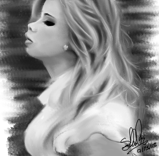 Black and White: Portrait: Girl by TheDarkEvilGoddess14