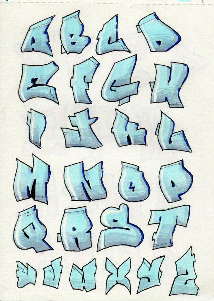 blue graffiti alphabet by ilyagalayda on DeviantArt