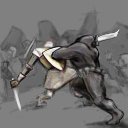 Obsidiman Fight Sketch by MarkFrankly