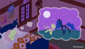 Fluttershy dreaming with Luna